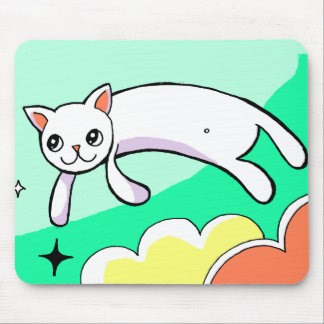 Bright Graphic Flying Cat Drawing Mousepad