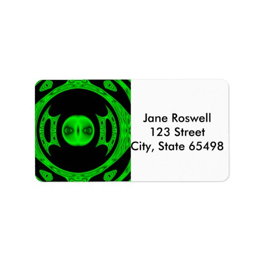 Bright Green Alien Abstract Label
