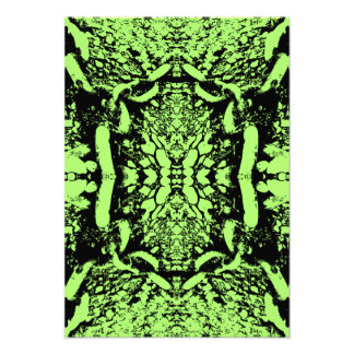 Bright Green and Black Abstract Design. Personalized Announcements