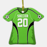Bright Green and Black Soccer Jersey #20 Christmas Tree Ornament