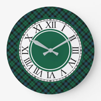Bright Green and Blue MacKay Clan Tartan Large Clock