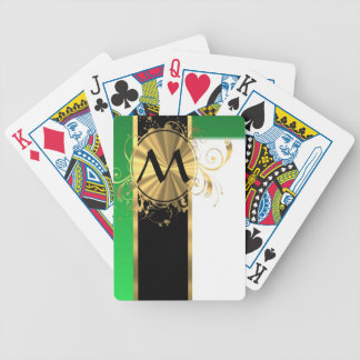 Bright green and gold monogram bicycle playing cards