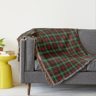 Bright Green and Red Clan Martin Scottish Plaid Throw Blanket