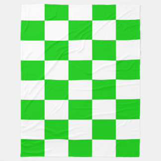 Bright Green and White Checkerboards Fleece Blanket