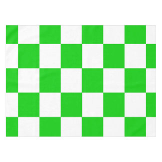 Bright Green and White Checkerboards Tablecloth