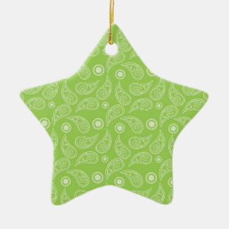Bright Green and White Country Paisley Pattern Double-Sided Star Ceramic Christmas Ornament