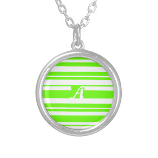 Bright Green and White Random Stripes Monogram Custom Necklace