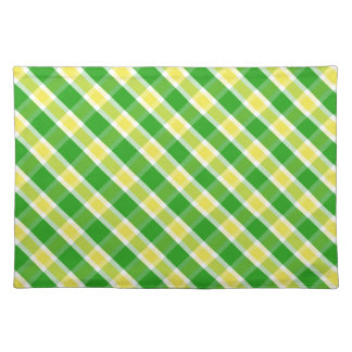 Bright Green And Yellow Plaid Pattern Placemats