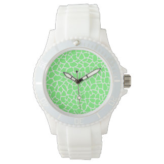 Bright Green Animal Print Giraffe Pattern Watch