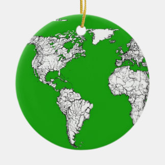 bright green atlas world map ink drawing art.jpg round ceramic decoration