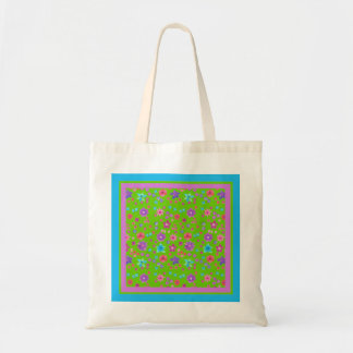 Bright Green Background Flower-Power Tote Bag Budget Tote Bag