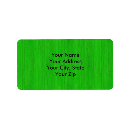 Bright Green Bamboo Wood Grain Look Address Label