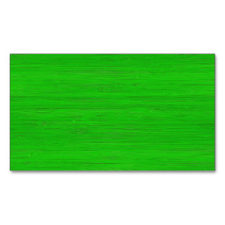 Bright Green Bamboo Wood Grain Look Magnetic Business Card