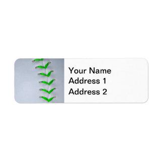 Bright Green Baseball / Softball Stitches Return Address Label