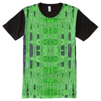 Bright Green Black Abstract All-Over Print T-Shirt