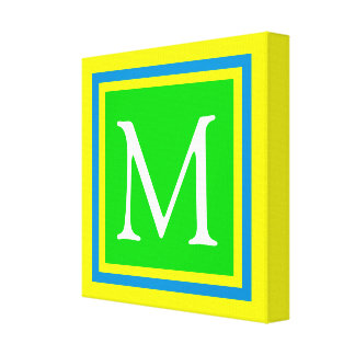 Bright Green Blue and Yellow Monogram Canvas Print