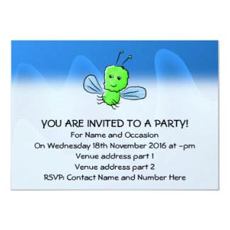 Bright Green Bug Flying Insect 11 Cm X 16 Cm Invitation Card