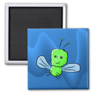 Bright Green Bug Flying Insect Fridge Magnet