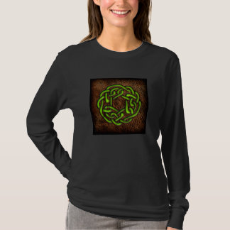Bright green celtic knot on leather T-Shirt