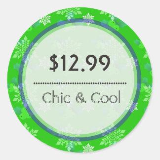 Bright Green Christmas Snowflakes Price Tag Round Sticker