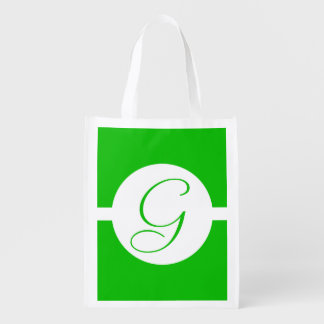 Bright Green Circle Monogram Reusable Grocery Bag