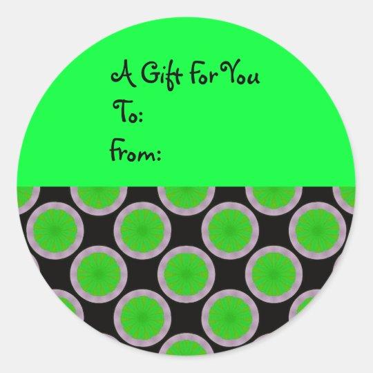 Bright Green Circles Gift Tag