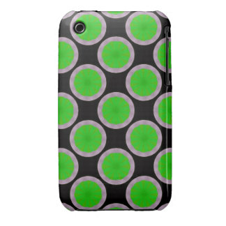 Bright green circles on black iPhone 3 cover