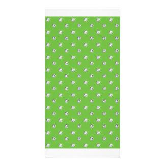 Bright green diamonds photo card