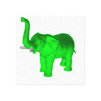 Bright Green Elephant Stretched Canvas Prints