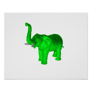Bright Green Elephant Poster
