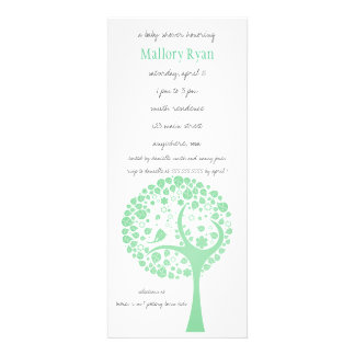 Bright Green Flowering Tree Baby Shower Invitation
