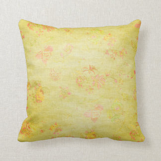 Bright Green Flowers Grungy Throw Pillow