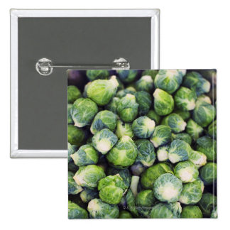 Bright Green Fresh Brussels Sprouts 15 Cm Square Badge