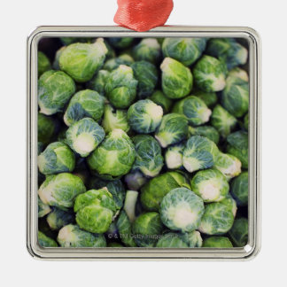 Bright Green Fresh Brussels Sprouts Silver-Colored Square Decoration