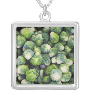 Bright Green Fresh Brussels Sprouts Silver Plated Necklace