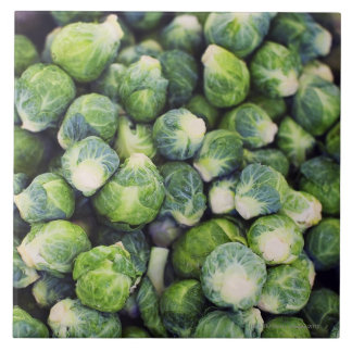 Bright Green Fresh Brussels Sprouts Tile