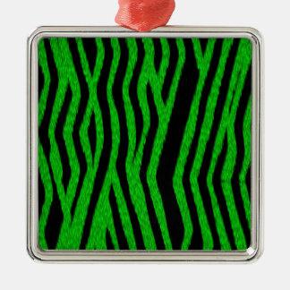 Bright Green Furry Zebra Stripes Christmas Tree Ornaments