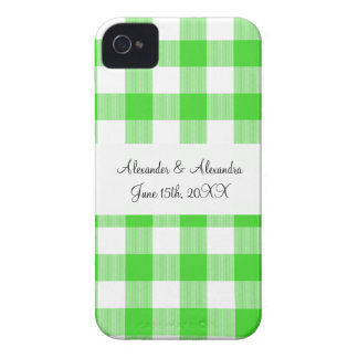 Bright green gingham pattern wedding favors iPhone 4 Case-Mate case