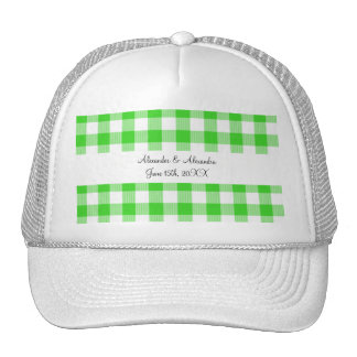 Bright green gingham pattern wedding favors trucker hats