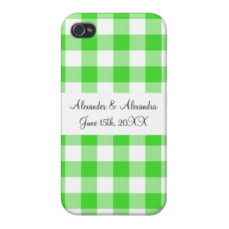 Bright green gingham pattern wedding favors iPhone 4/4S case