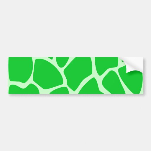 Bright Green Giraffe Print Pattern. Bumper Sticker