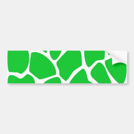 Bright Green Giraffe Print Pattern. Bumper Stickers
