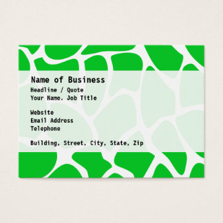 Bright Green Giraffe Print Pattern. Business Card