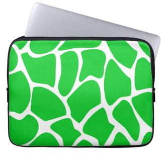 Bright Green Giraffe Print Pattern. Laptop Sleeve