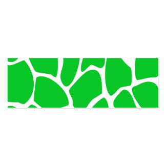 Bright Green Giraffe Print Pattern. Pack Of Skinny Business Cards