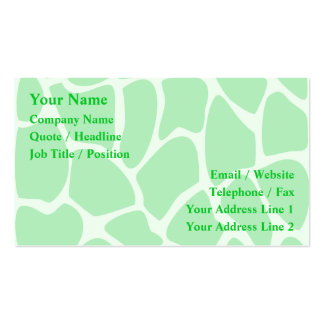 Bright Green Giraffe Print Pattern. Pack Of Standard Business Cards