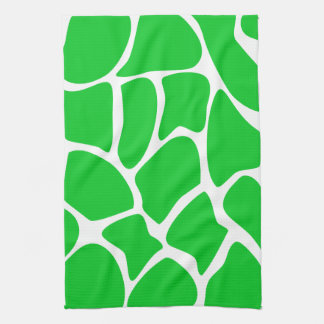 Bright Green Giraffe Print Pattern. Tea Towel
