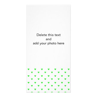 Bright Green Glitter Hearts Pattern Picture Card