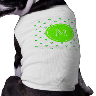 Bright Green Glitter Hearts with Monogram Doggie T-shirt