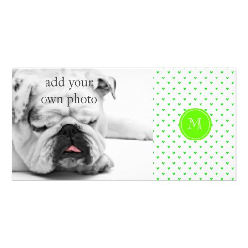 Bright Green Glitter Hearts with Monogram Photo Cards